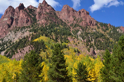 Red rocks and aspen