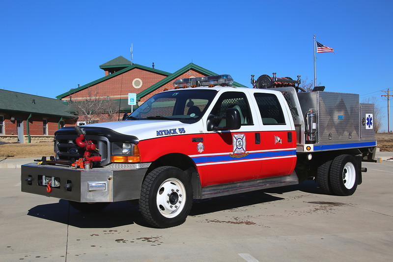 Attack 55 <br /> 2001 Ford F-550 4×4 450 Gallons / 250 GPM with 15 gallons foam and bumper mounted turret.  Refurbished in 2013.