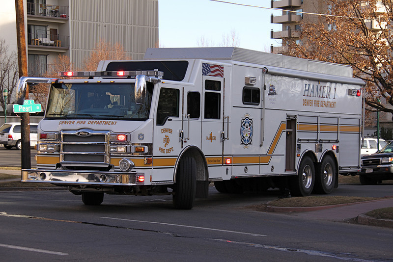 Denver HAMER 1 (Hazardous Materials Emergency Response) housed at Station 6 at Speer & Auraria Downtown.  The HAMER responds citywide on all structure fires, gas leaks and hazmat incidents.