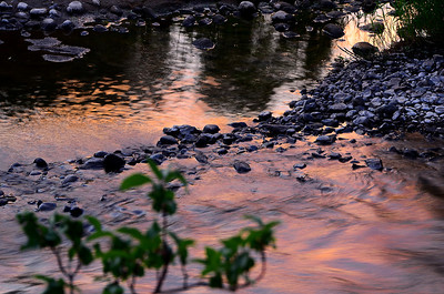Sunset reflection in the Elk River, North of Steamboat Springs CO.