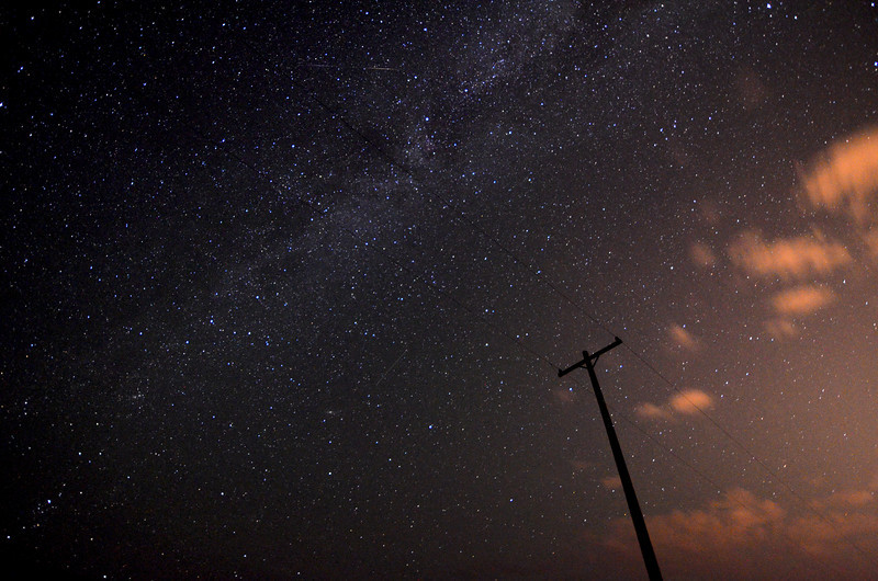Milky Way as seen from a field near Steamboat Springs CO.  A couple of Perseid Meteors passing by as well,