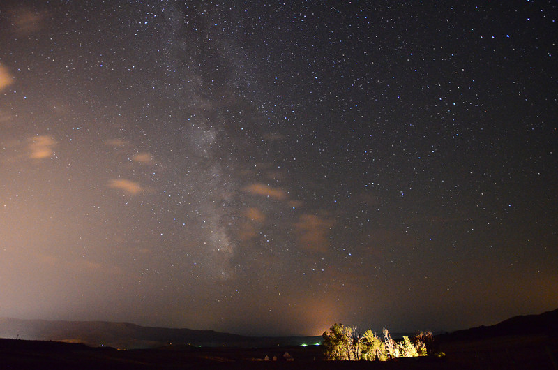 Looking South at the Milky Way, The light pollution from the left is Steamboat Springs.