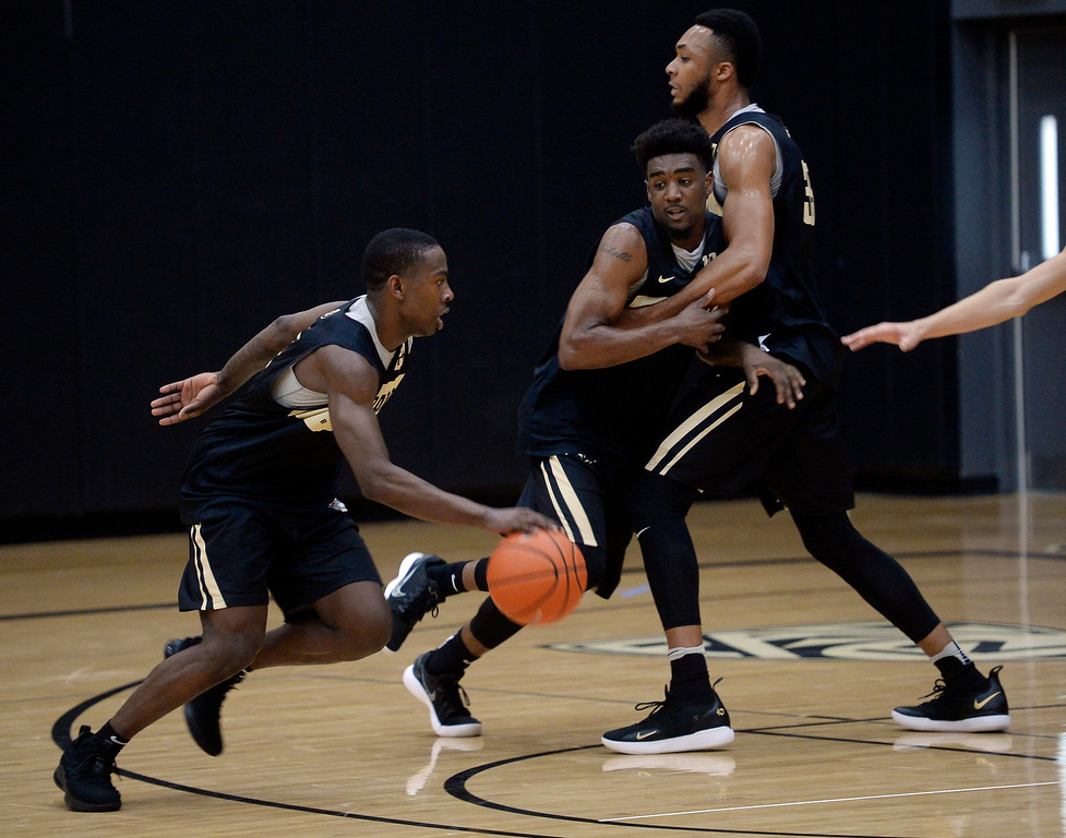 . BOULDER, CO: University of Colorado\'s  McKinley Wright IV, left, gets past Namon Wright,  being screened by Dallas Walton, during the first practice for the CU men\'s team on October 2, 2018. ((Photo by Cliff Grassmick/Staff Photographer)