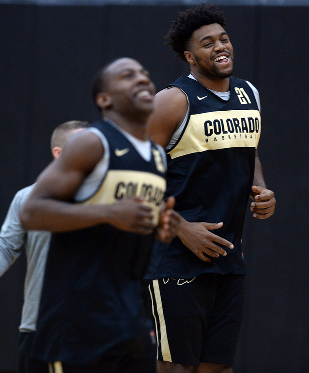 . BOULDER, CO: University of Colorado\'s  McKinley Wright IV, left, and Evan Battey, warm up during the first practice for the CU men\'s team on October 2, 2018. ((Photo by Cliff Grassmick/Staff Photographer)