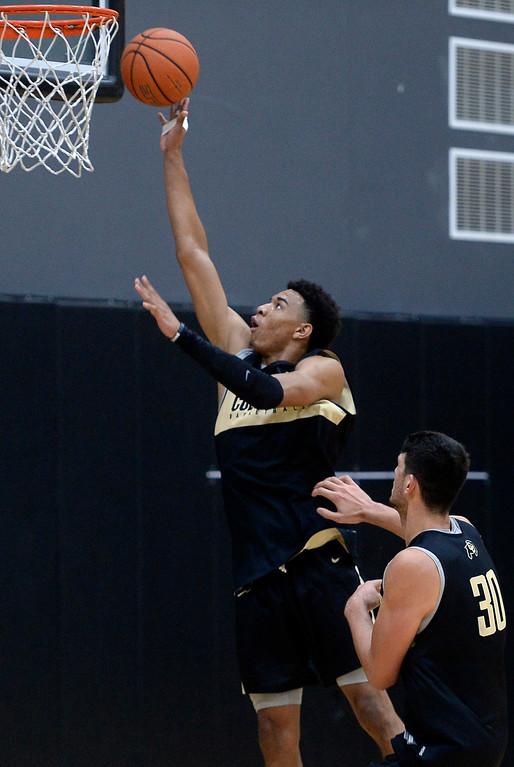 . BOULDER, CO: University of Colorado\'s  Tyler Bey puts up a shot during the first practice for the CU men\'s team on October 2, 2018. ((Photo by Cliff Grassmick/Staff Photographer)