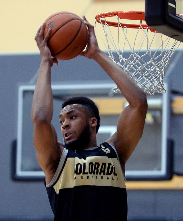 . BOULDER, CO: University of Colorado\'s  Dallas Walton gets a rebound during the first practice for the CU men\'s team on October 2, 2018. ((Photo by Cliff Grassmick/Staff Photographer)