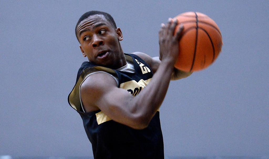 . BOULDER, CO: University of Colorado\'s  McKinley Wright IV gets a rebound during the first practice for the CU men\'s team on October 2, 2018. ((Photo by Cliff Grassmick/Staff Photographer)