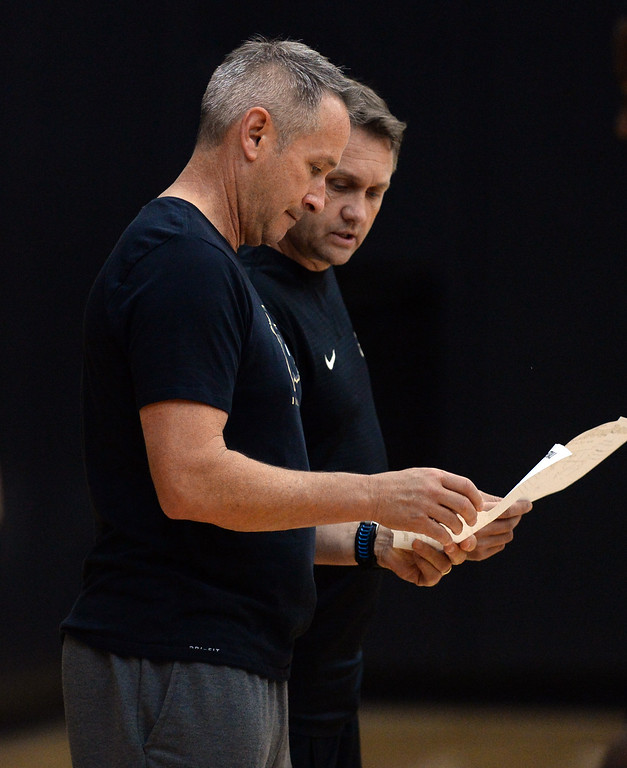 . BOULDER, CO: University of Colorado\'s Bill Grier, left, and Mike Rohn, during the first practice for the CU men\'s team on October 2, 2018. ((Photo by Cliff Grassmick/Staff Photographer)