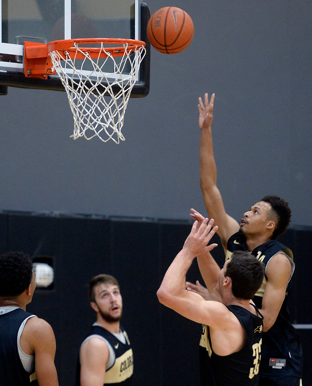 . BOULDER, CO: University of Colorado\'s  Deleon Brown puts up a shot during the first practice for the CU men\'s team on October 2, 2018. ((Photo by Cliff Grassmick/Staff Photographer)