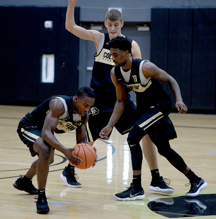 . BOULDER, CO: University of Colorado\'s  McKinley Wright IV, left, gets the ball from Namon Wright,  during the first practice for the CU men\'s team on October 2, 2018. ((Photo by Cliff Grassmick/Staff Photographer)