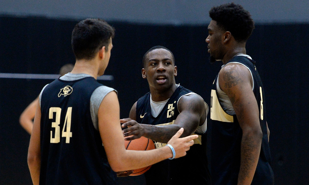 . BOULDER, CO: University of Colorado\'s  McKinley Wright IV, center, gets the ball from Namon Wright, right, during the first practice for the CU men\'s team on October 2, 2018. ((Photo by Cliff Grassmick/Staff Photographer)
