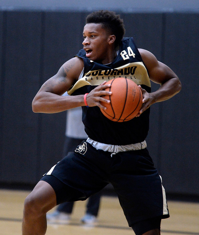 . BOULDER, CO: University of Colorado\'s   Eli Parquet  gets a rebound  during the first practice for the CU men\'s team on October 2, 2018. ((Photo by Cliff Grassmick/Staff Photographer)
