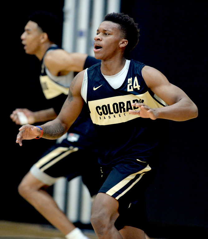 . BOULDER, CO: University of Colorado\'s Eli Parquet  runs drills  during the first practice for the CU men\'s team on October 2, 2018. ((Photo by Cliff Grassmick/Staff Photographer)