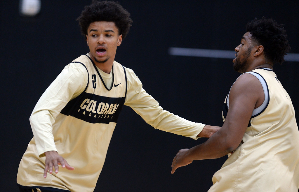 . BOULDER, CO: University of Colorado\'s  Daylen Kountz, left,  during the first practice for the CU men\'s team on October 2, 2018. ((Photo by Cliff Grassmick/Staff Photographer)