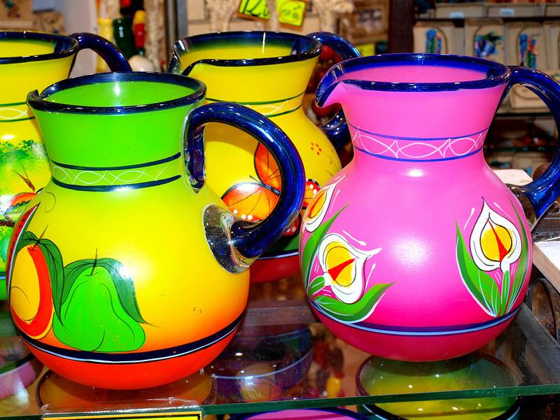Glass jars in sunlight