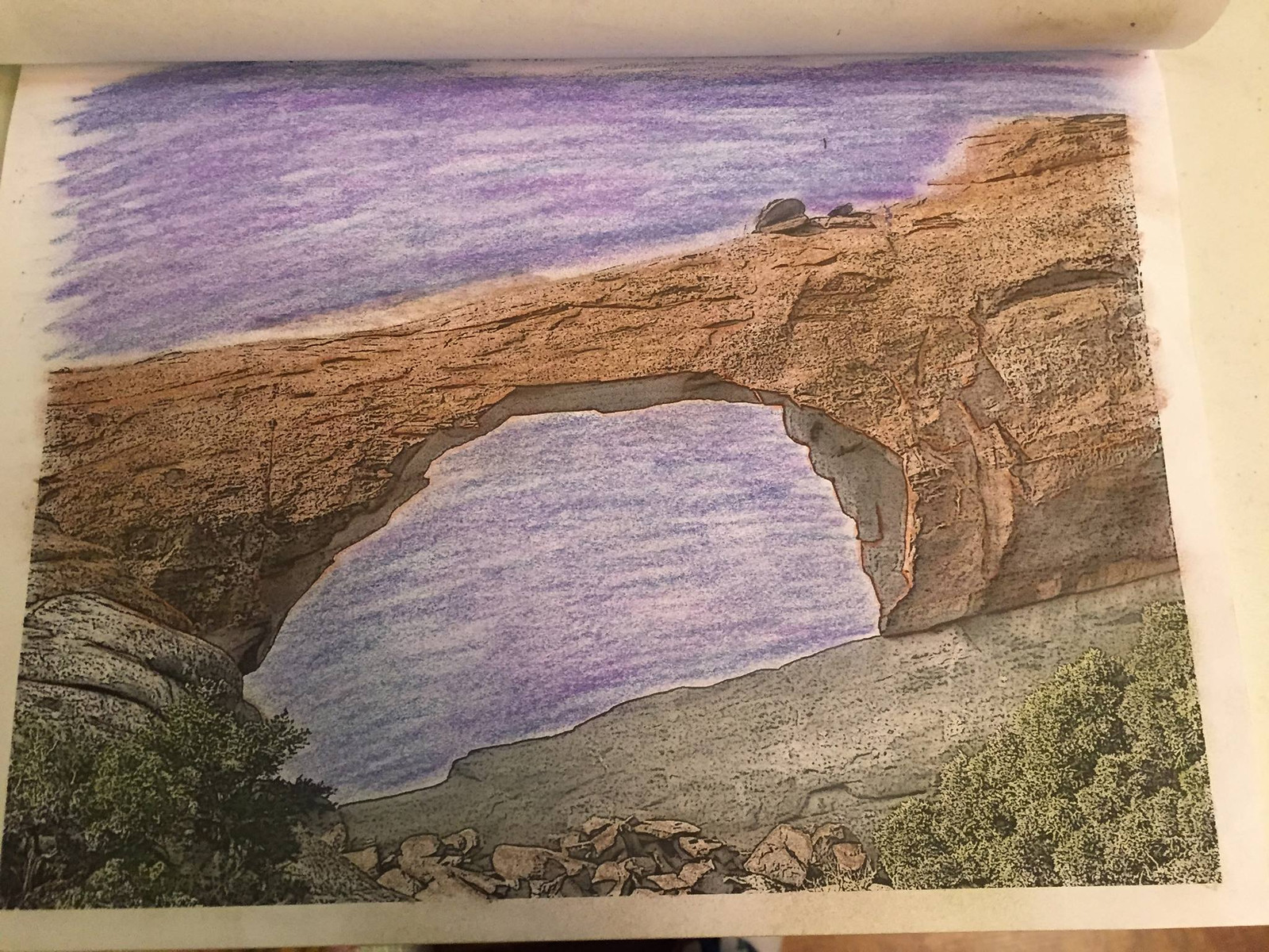 Color Skyline Arch from Arches National Park in Coloring the West, An Adult Coloring Book for Travelers