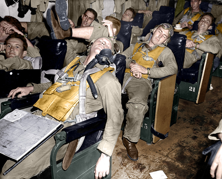 Lt (JG) John H. Cantrell & Lt John L. Carter in Ready Room, November 1944