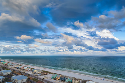 White sand beach along the Gulf of Mexico at Gulf Shores, Alabama.