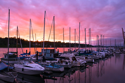 Sunset near Percival Landing in Olympia, WA