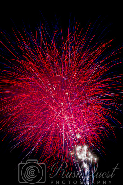 Celebration at 4th of July at shoreline, mountain view. Always look forward for fireworks photography. It brings out an intense beauty of lines, colours and complexity.