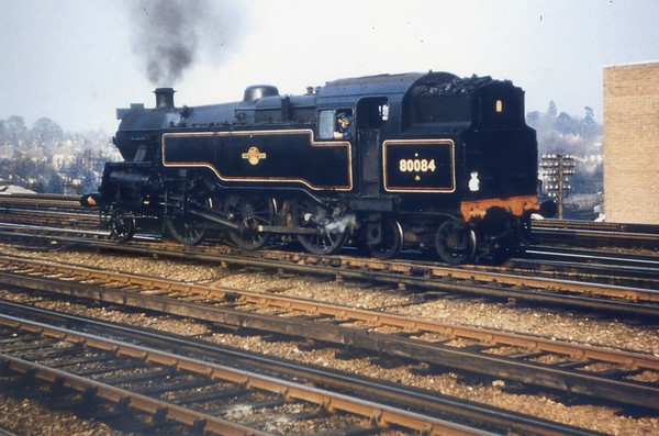 """80084 is at Haywards Heath prior to working the """"Blue Belle"""" railtour back to Victoria on 31/3/63"""