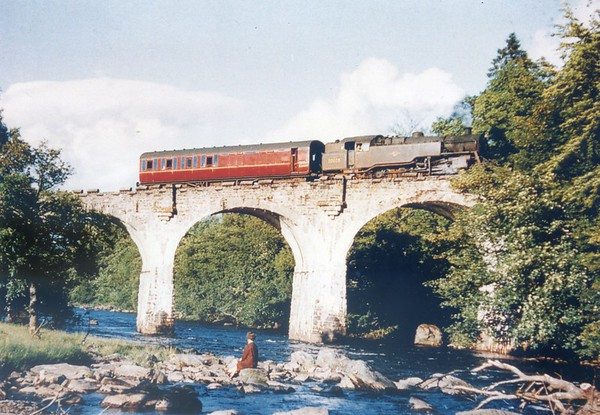 80028 crossing the River Dochart Viaduct at Killin June 1965