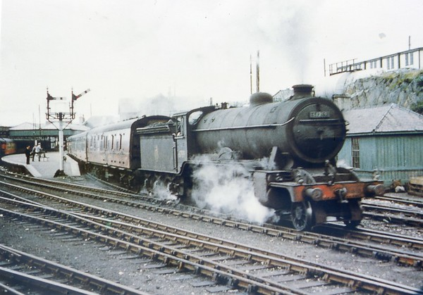 61789 Loch Laidon leaves Mallaig with the 6.18pm service to Fort William 23rd March 1957 Gresley K2