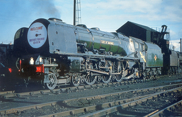 46257 City of Salford at Springs branch shed celebrating Britains Railway Queen, look at that headboard! in September 1964 (loco withdrawn at the end of September 1964)