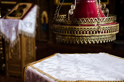 A table in St. Nicholas' Chapel at St. Anthony's Greek Orthodox Monastery in Florence, AZ.