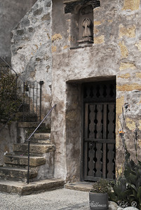 This photo was taken on a visit to San Carlos Borromeo de Carmelo Mission in Carmel, California with my husband and two of our best friends from Australia. I'm in love with missions and make sure when traveling to visit at least one. They tell fantastic stories of struggle and of faith. This was a side entrance not opened to the public that we found on our self-guided tour.