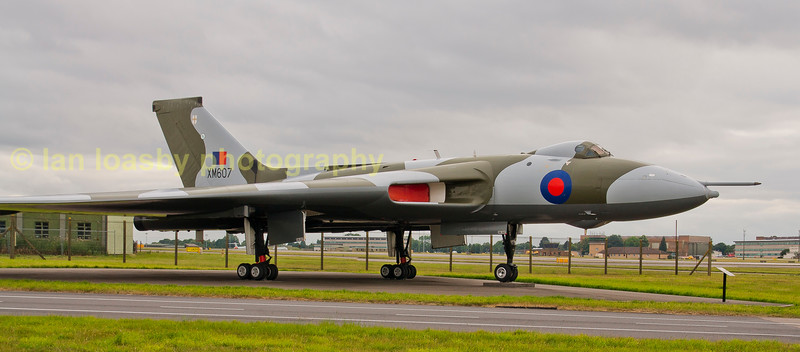 This  is the only Vulcan that dropped live bombs in anger as she was the aircraft that successfully bombed Port Stanley airfield runway when the Falkland isles was invaded by the Argentine's in 1982..<br /> <br /> XM607  is now on  public display opposite RAF Waddington public viewing area