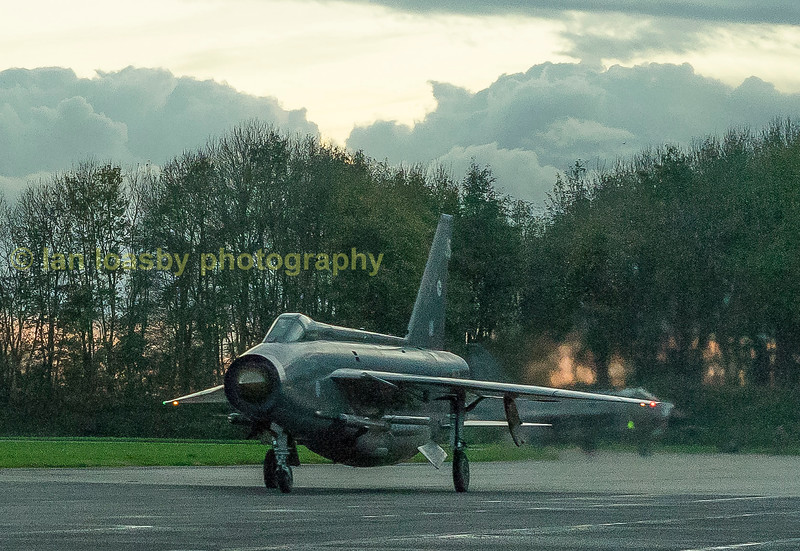 Binbrook station commanders personal aircraft F6 XR728 blasts down Bruntingthorpes runway on a scramble departure.   XR728 is painted  in the colours of the Lightning  Training Flight  11 sqn RAF Bindbook