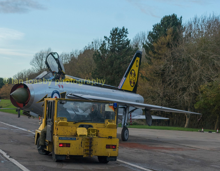 Putting XR 713back into the QA shed.  Starboard side of the aircraft diplays  the serial  XR 718  and livery of 56 Sqn RAF  Wattisham