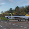 Putting XR 713back into the QA shed .     Starboard side of the aircraft diplays  the serial  XR 718  and livery of 56 Sqn RAF  Wattisham