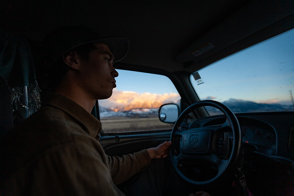 Sawyer Thomas driving to Cooke City. For John Colter Project.