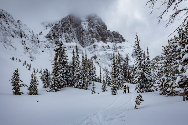 Sawyer Thomas and Riis Wilbrecht skinning to the Abiathar Couloir in Cooke City MT. For John Colter Project.