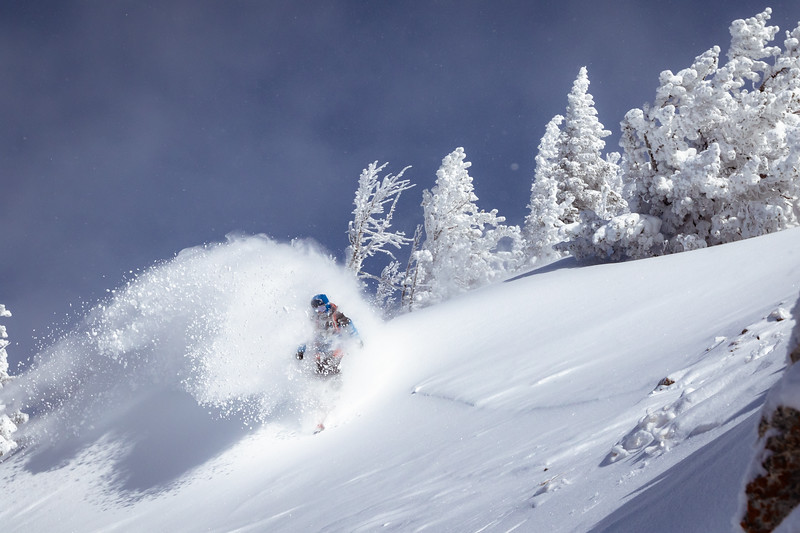 Riis Willbrecht coming out of the cloud on Teton Pass.