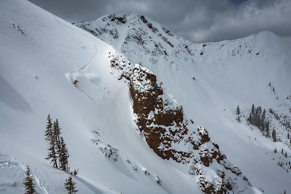 Sawyer Thomas skiing down Republic Peak. For John Colter Project.