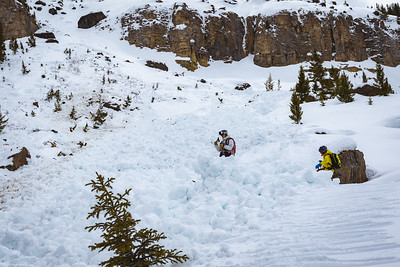 Riis Wilbrecht and Sawyer Thomas crossing the avalanche debris at the bottom of the canyon. For John Colter Project.