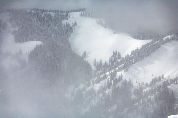 The potential on Teton Pass peaking through the clouds.