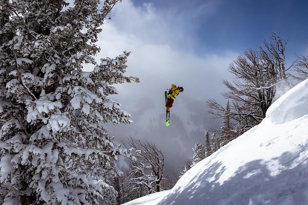 Sawyer Thomas throwing a 360 on Teton Pass.