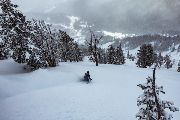 Riis Wilbrecht skiing on Teton Pass.