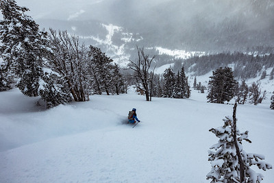 Riis Wilbrecht skiing on Teton Pass.