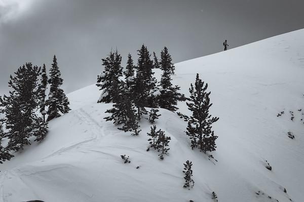 Sawyer Thomas skinning up Republic Peak. For John Colter Project.