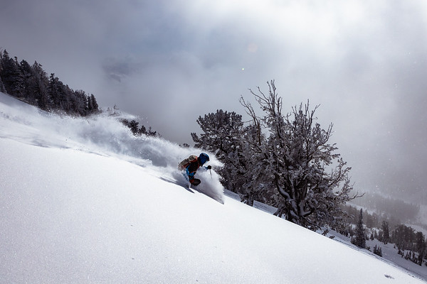 Riis Wilbrecht carving his way down Mt. Glory.