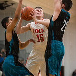 DeSales\' Dillon Sievert (15) forced his way between defenders to get off a shot.