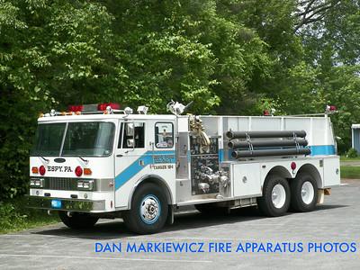 ESPY FIRE CO. TANKER 184 1985 PIERCE TANKER/PUMPER