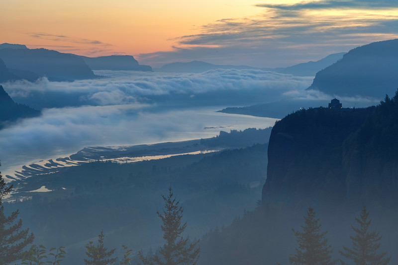 Misty, Foggy Morning in the Columbia River Gorge Oregon.