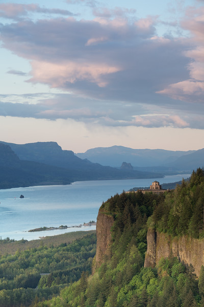 A sunset view of the Vista House from Chanticleer Point.