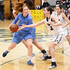 STAN HUDY - SHUDY@DIGITALFIRSTMEDIA.COM<br /> Shenendehowa's Alex Tudorgets her hand on the ball as Columbia's Grace Heeps drives towards the basket Friday, Jan. 20, 2017 during their Suburban Council game at Shenendehowa High School.